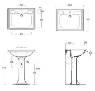 Waschbecken ohne hohem Rand, Einloch, für Dreilocharmatur vorgesehen, - Vorschau 2