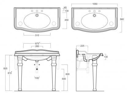 Waschbecken mi Konsole, Einloch, für Dreilocharmatur vorgesehen, ohne Armaturen. - Vorschau 3