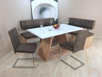 Dinninggruppe Kernbuche schoko Sitzbank Bänke 2 x Stühle Stuhlset modern design