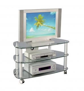 tv phonowagen fernsehtisch tv rack hifi tisch glastisch rollbar rollen. Black Bedroom Furniture Sets. Home Design Ideas
