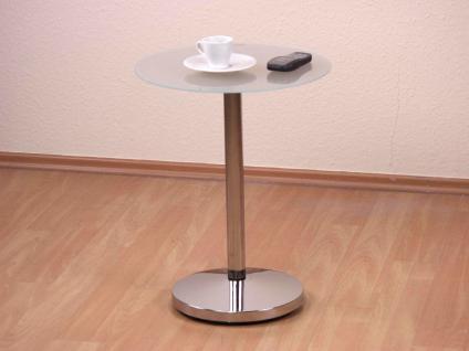 Beistelltisch Tisch Glastisch schwarz Milchglas Stahlrohr chrom Glasplatte neu