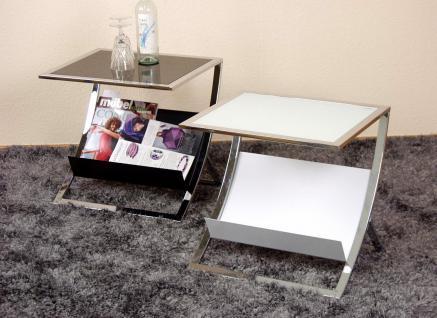 Beistelltisch tisch glastisch couchtisch sicherheitsglas for Beistelltisch glas mit zeitungsablage