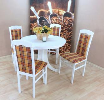 Tischgruppe 5 teilig massiv weiß gelb braun Essgruppe Stühle günstig preiswert