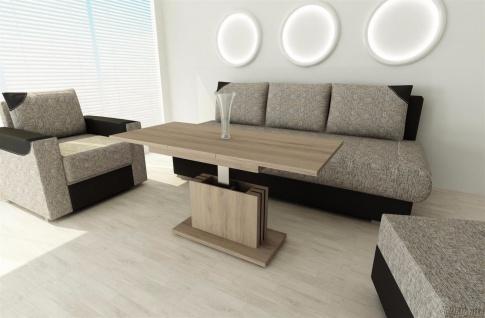 Couchtisch Wildeiche ausziehbar Wohnzimmer design modern edler Sofatisch neu