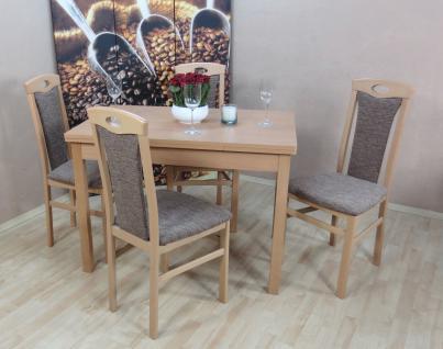 Tischgruppe massivholz Buche natur cappuccino Auszugtisch Stuhlset Stühle Tisch