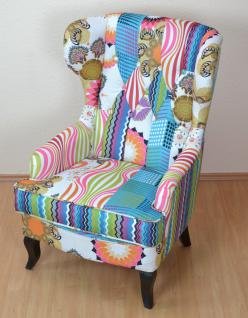Ohrenbackensessel Sessel Polstersessel bunt Clubsessel Loungesessel Patchwork