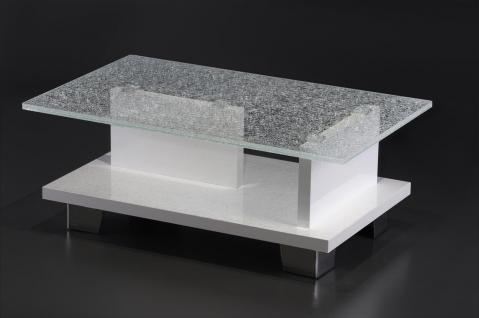 moderner Couchtisch Crashglas Wohnzimmertisch Glastisch Glas Design edel Ablage