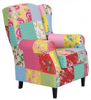 Patchworksessel Patchwork Fernsehsessel Ohrenbackensessel Ohrensessel Sessel