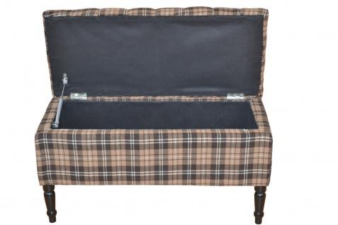 sitzbank braun stauraum kariert hocker hockerbank bank garderobenbank sitztruhe kaufen bei go. Black Bedroom Furniture Sets. Home Design Ideas