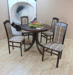 moderne Tischgruppe 5 tlg. massiv nuss dunkel braun Essgruppe günstig preiswert