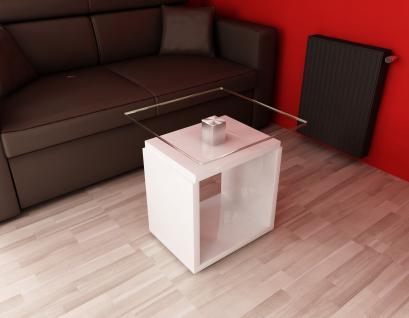 Beistelltisch edler Glastisch Stelltisch Glas Aluminium Beitisch modern design