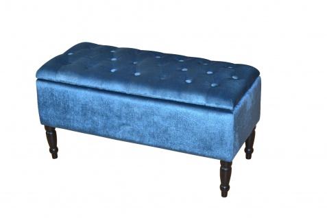sitzbank petrol hocker hockerbank bank sitzstauraum massiv samtbezug gepolstert kaufen bei go. Black Bedroom Furniture Sets. Home Design Ideas