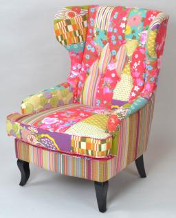 Patchworksessel Ohrenbackensessel Polstersessel Ohrenbacken Patchwork Sessel