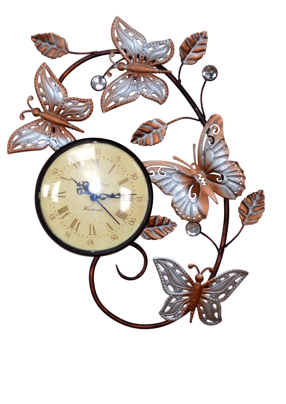 wanduhr uhr romantisch blumen silber beige r mische zahlen metall bronce neu kaufen bei go perfect. Black Bedroom Furniture Sets. Home Design Ideas