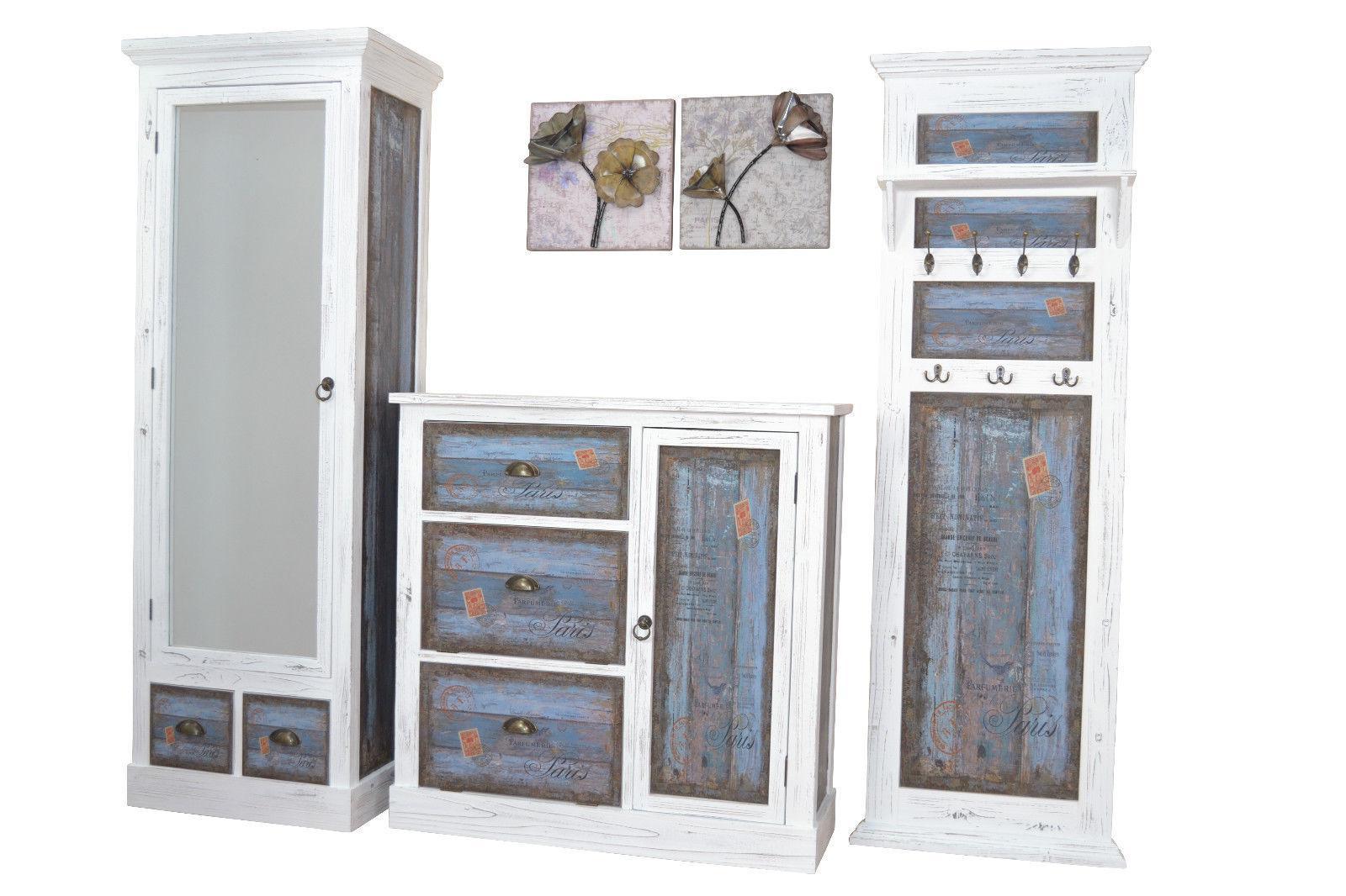 schuhschrank massivholz tanne vintage used look wei blau. Black Bedroom Furniture Sets. Home Design Ideas