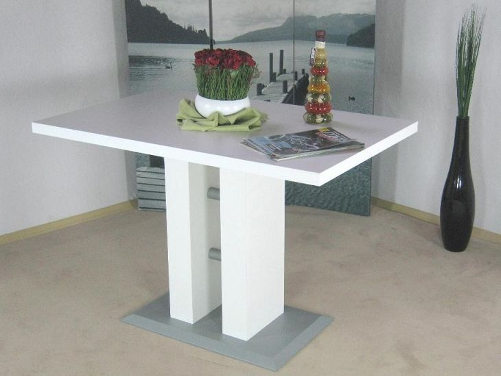 Moderner s ulentisch wei weiss esszimmertisch k chentisch for Tisch design 24