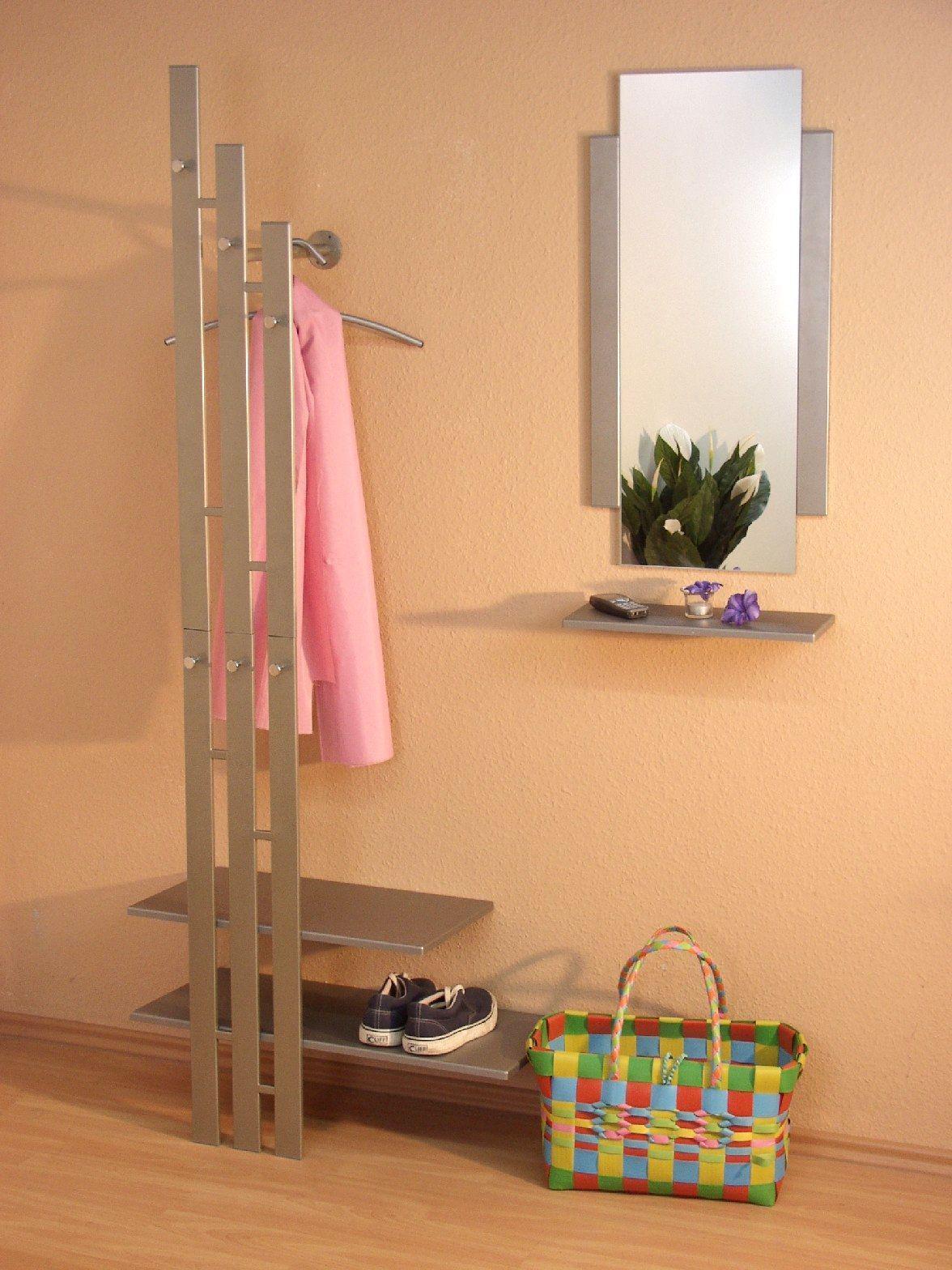 wandgarderobe garderobe kleiderstange ablagebogen chrom nickel ablage wei kaufen bei go perfect. Black Bedroom Furniture Sets. Home Design Ideas