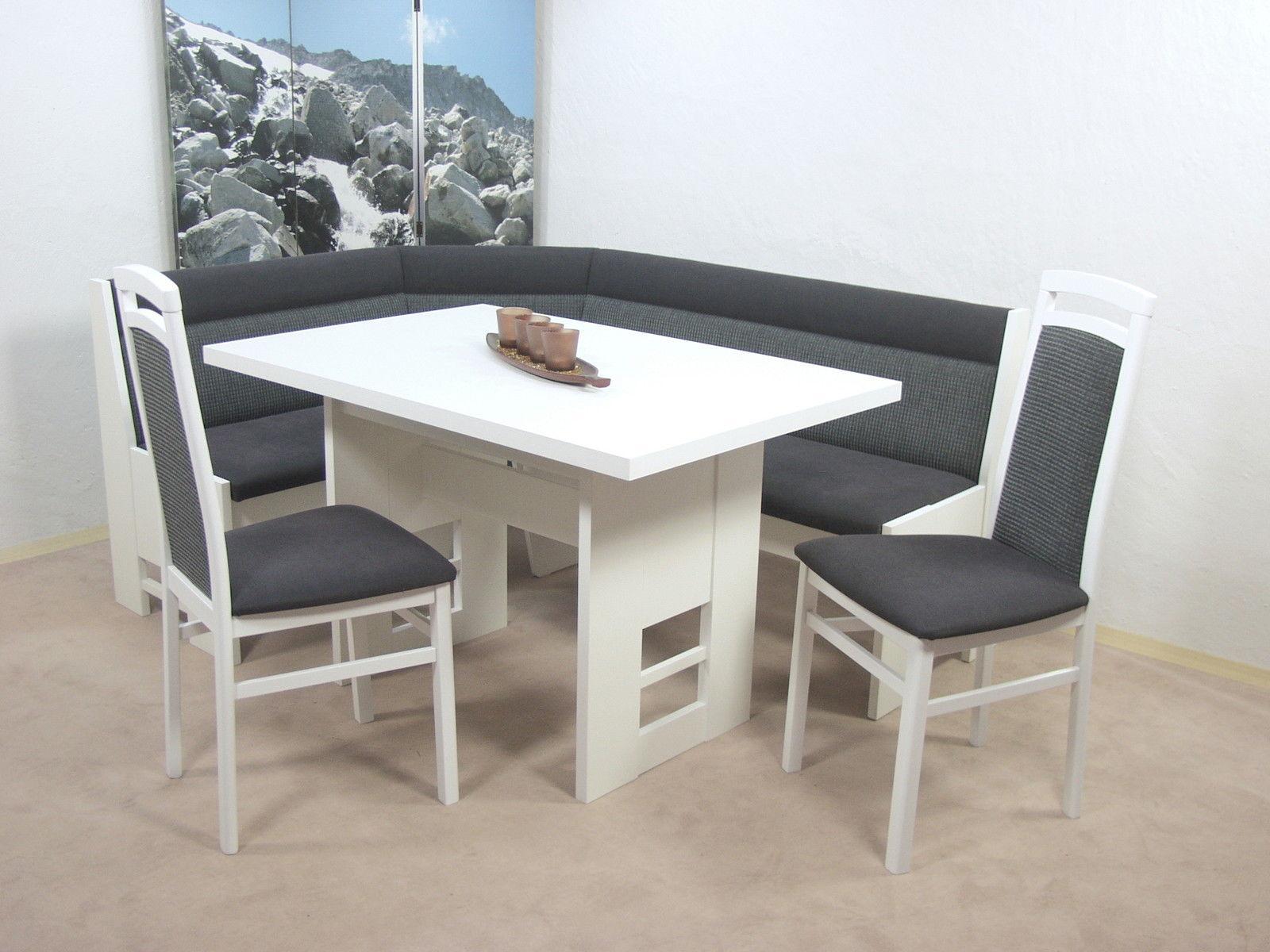 Eckbank weiß grau  Truheneckbankgruppe 4 teilig weiß grau Stühle Tisch Eckbank ...