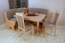 Truheneckbankgruppe massiv natur beige braun Eckbankgruppe Stühle Auszugtisch