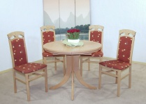 Tischgruppe fünfteilig massivholz natur rot Esstisch Stuhlset Esszimmertisch