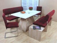 Dinninggruppe Eiche Remo rot Sitzbank Bänke 2 x Stühle Essgruppe Tischgruppe
