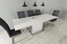moderner Säulentisch Hochglanz weiß Design Esstisch edler Auszugstisch neu