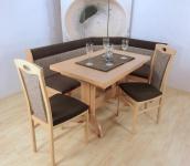 Truheneckbankgruppe massiv beige mocca braun Eckbankgruppe Auszugtisch Stühle