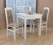 Tischgruppe 3 teilig massiv weiß beige braun Essgruppe Stühle Tisch preiswert