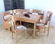 Truheneckbankgruppe massivholz braun beige Eckbankgruppe Stühle Auszugtisch neu