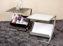 Beistelltisch Tisch Glastisch Couchtisch Sicherheitsglas Glas schwarz weiß