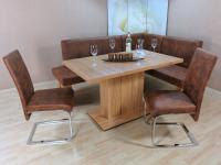 Eckbankgruppe Kernbuche cognac Essgruppe 2 x Stühle Säulentisch Dinninggruppe