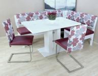 moderne Dinning-Gruppe 4 teilig bordeauxrot weiß Eckbankgruppe Tisch Stühle neu