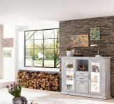 Highboard weiß antik Pappel teilmassiv Kommode Schrank Landhaus Glas Anrichte