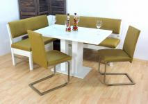 moderne Dinning-Gruppe 4 teilig limone weiß Eckbankgruppe Tisch Stühle preiswert