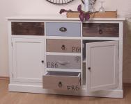 Anrichte massiv kiefer Kommode Sideboard weiß grau braun antik Schrank modern
