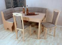 Truheneckbankgruppe massiv natur braun beige Eckbankgruppe Stuhlset Auszugtisch