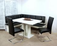 Eckbankgruppe weiß Eckbank Schwingstühle Säulentisch Stuhlset Dinninggruppe neu