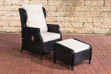Gartensessel schwarz weiß inkl. Kissen Hocker Polyrattan Gartenstuhl Terrasse
