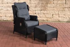 Gartensessel schwarz inkl. Kissen grau Hocker Polyrattan Gartenstuhl Terrasse