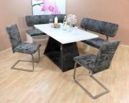 Dinninggruppe weiß anthrazit Sitzbank Bänke 2 x Stühle Essgruppe Tischgruppe neu