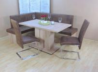 Eckbankgruppe 4 teilig Remo Eiche schoko Essgruppe 2 x Stühle Säulentisch design