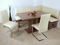 Eckbankgruppe kernnuss Eckbank Schwingstühle Säulentisch Stuhlset Dinninggruppe