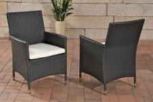 1 x Gartenstuhl schwarz Kissen Rattanstuhl Gartensessel Lounge Garten Terrasse