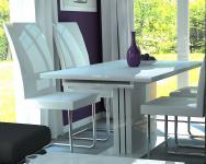 moderner Säulentisch 130-170 Design Esstisch Auszugstisch Hochglanz Eiche Weiß