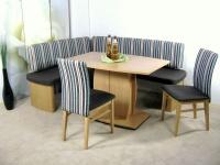 moderne Eckbankgruppe Buche natur Eckbank Säulentisch massiv Stühle preiswert