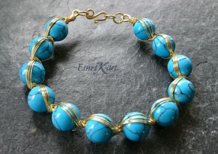 EinziK-Art Armband Türkis 24kt vergoldet