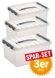 3er-Set Klarsichtbox / Aufbewahrungsbox mit Deckel, Inhalt 12 Liter, LxBxH 300 x 300 x 140 mm - Vorschau