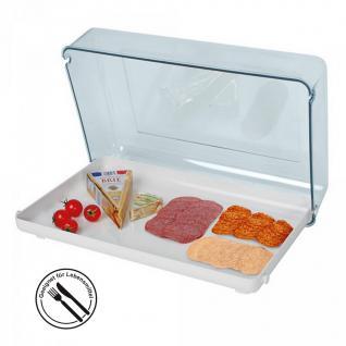 Buffetvitrine, weiß/transparenter Deckel, Spuckschutz entsprechend HACCP, LxBxH 440 x 300 x 120 mm - Vorschau