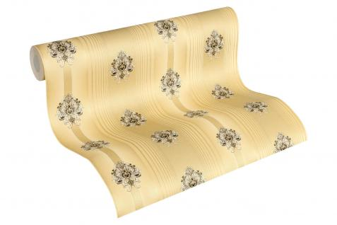Luxus Vlies Tapete Streifen Barock Muster Ornament gold schwarz metallic 330841