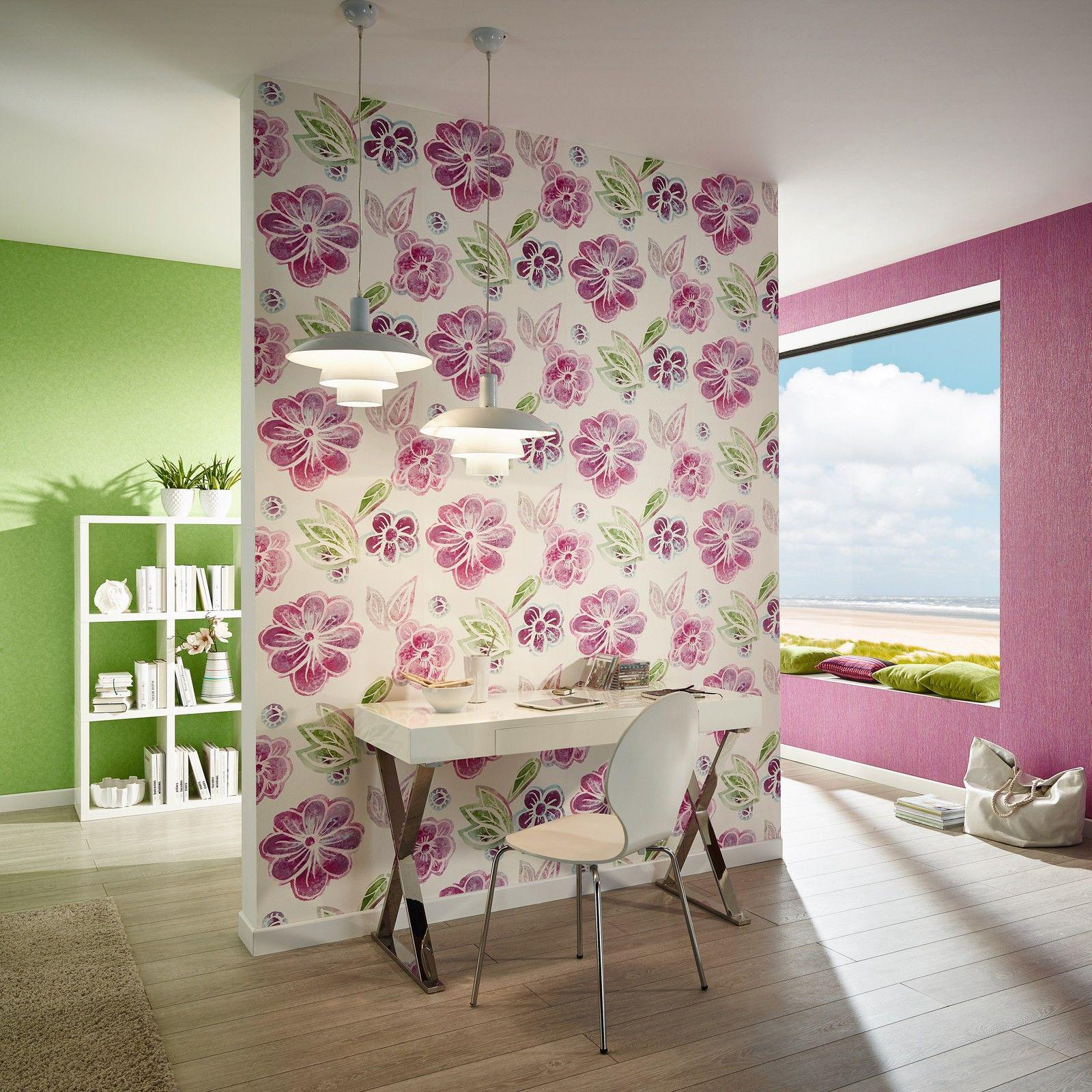 vlies tapete retro blumen muster floral wei pink gr n magenta 3615 30 kaufen bei joratrend e k. Black Bedroom Furniture Sets. Home Design Ideas